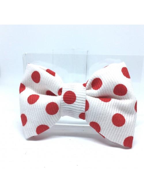 Broche Noeud-Papillon petit modèle Blanc Pois Rouges