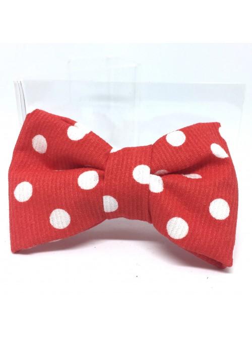 Broche Noeud-Papillon petit modèle Rouge Pois Blancs