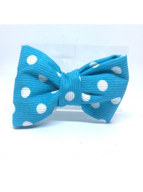 Broche Noeud-Papillon petit modèle Bleu Pois Blancs