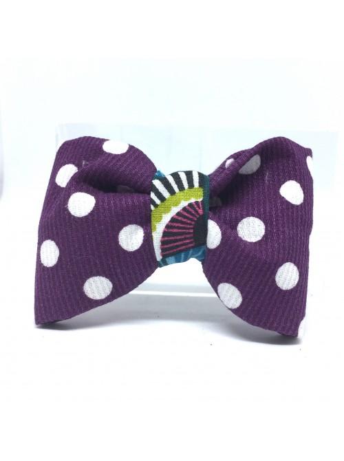 Broche Noeud-Papillon petit modèle Violet pois blancs