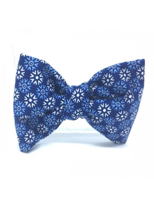 Broche Noeud-Papillon petit modèle graphisme bleu
