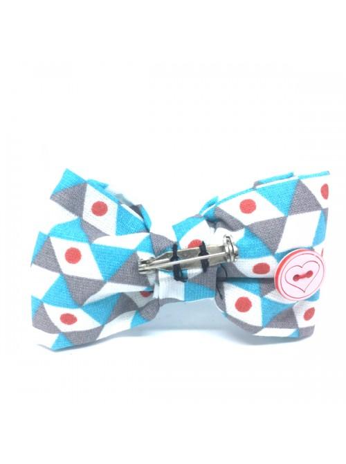 Broche Noeud-Papillon petit modèle Motifs graphiques turquoise gris blanc pois rouge