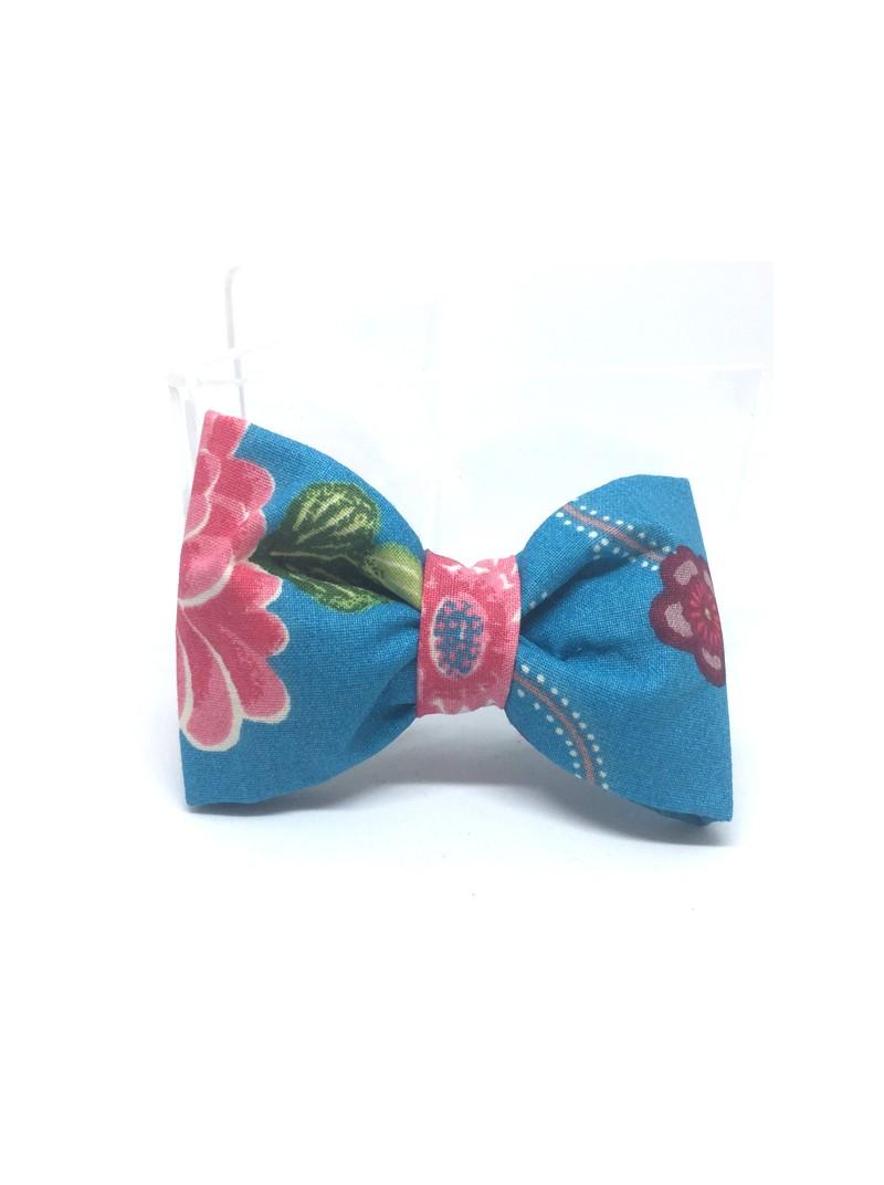 Broche Noeud-Papillon petit modèle turquoise et fleurie