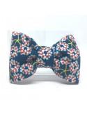 Broche Noeud-Papillon petit modèle Fleurie bleue type Liberty