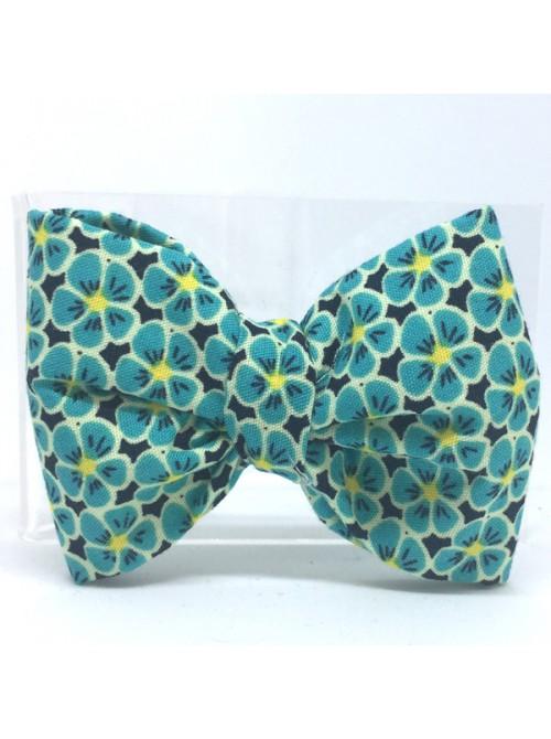 Broche Noeud-Papillon petit modèle Fleurie verte