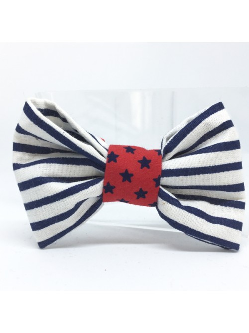 Broche Noeud-Papillon petit modèle Rayures Bleues & Blanches