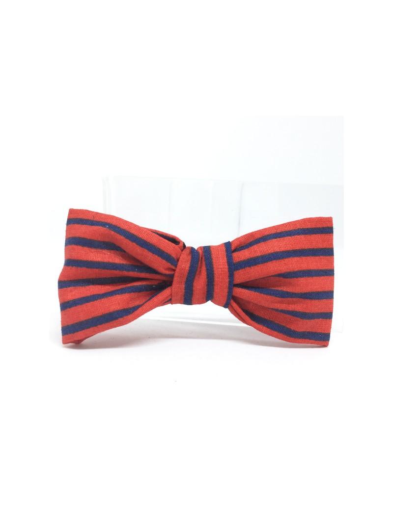 Broche Noeud-Papillon petit modèle Rayures rouges & bleues