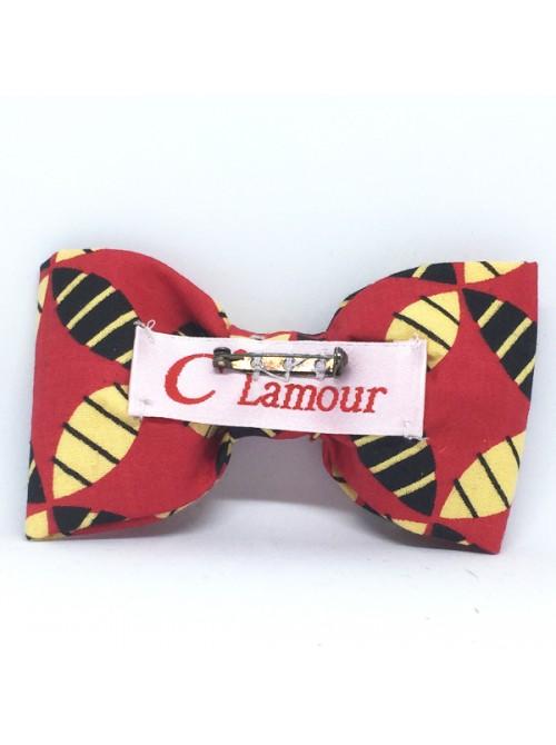 Broche Noeud-Papillon Grand Modèle Wax rouge noir crème