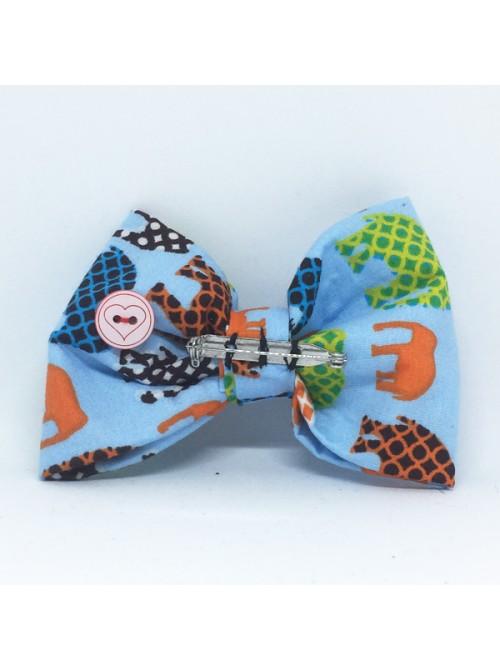 Broche Noeud-Papillon grand modèle Motifs Eléphants bleu
