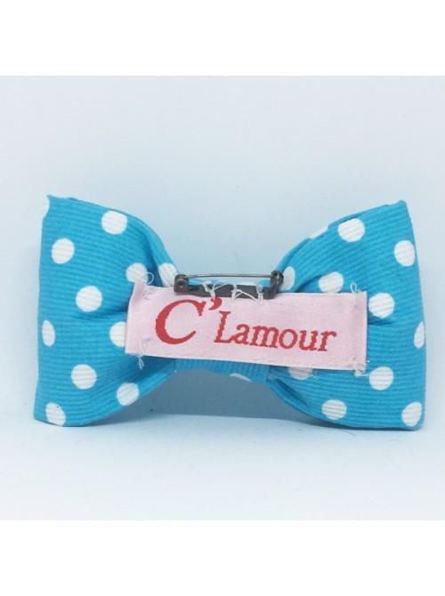Broche Noeud-Papillon Grand Modèle Pois Blancs fond Bleu Turquoise