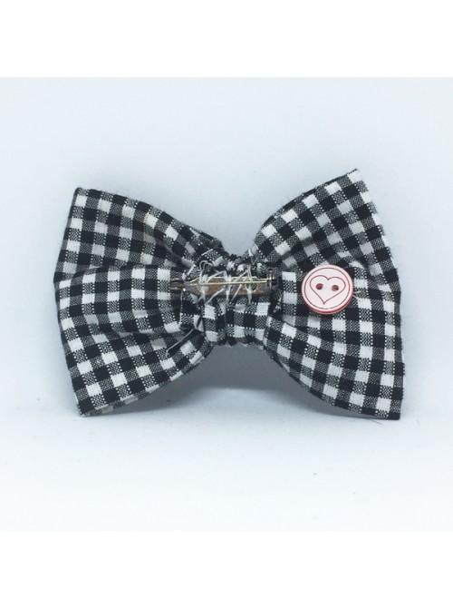 Broche Noeud-Papillon Grand Modèle Vichy Noir & Blanc