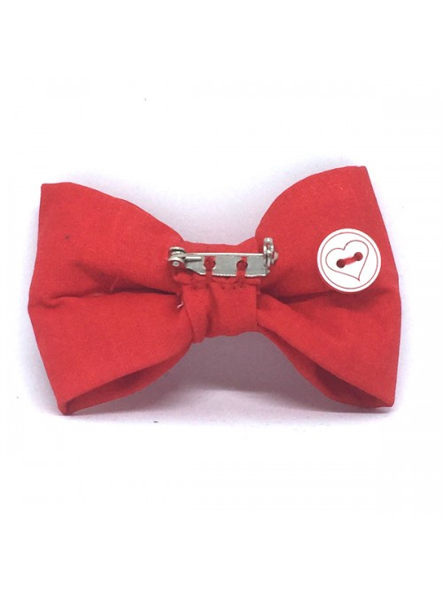 Broche Noeud-Papillon petit modèle Unie Rouge