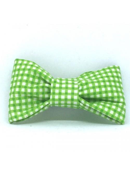 Broche Noeud-Papillon petit modèle Vichy Vert & Blanc