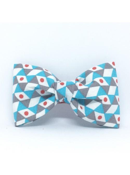 Broche Noeud-Papillon grand modèle Motifs graphiques bleus et gris
