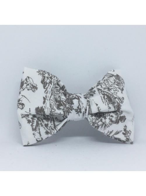 Broche Noeud-Papillon grand modèle Inspiration Toile de Jouy
