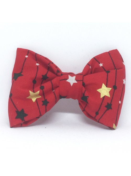 Broche Noeud-Papillon Grand Modèle Noël Etoiles
