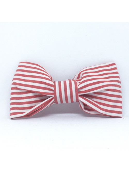 Broche Noeud-Papillon petit modèle Rayures Rouge & Blanc