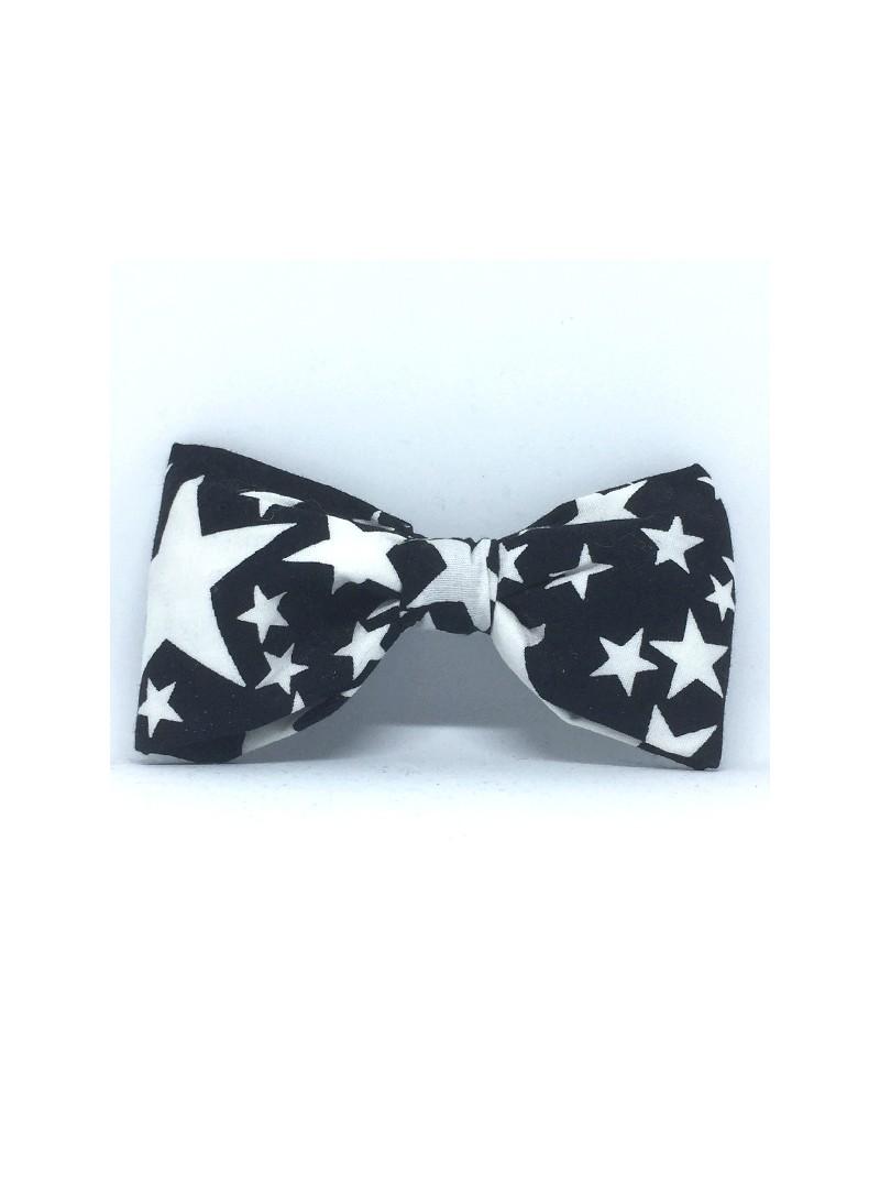 Broche Noeud-Papillon Grand Modèle Etoiles noires & blanches