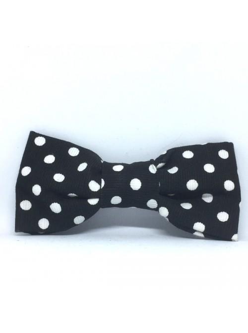 Broche Noeud-Papillon petit modèle Noir Pois Blancs